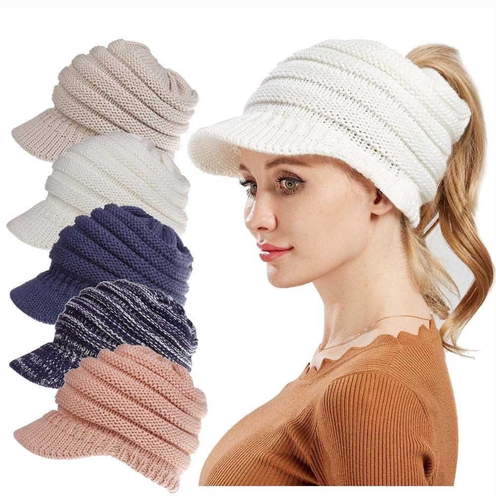 c25cd2df39b Detail Feedback Questions about Autumn Winter New Women Girl Knitted High  Bun Ponytail Stretchy Warm Hat Solid Color Baseball Caps on Aliexpress.com  ...
