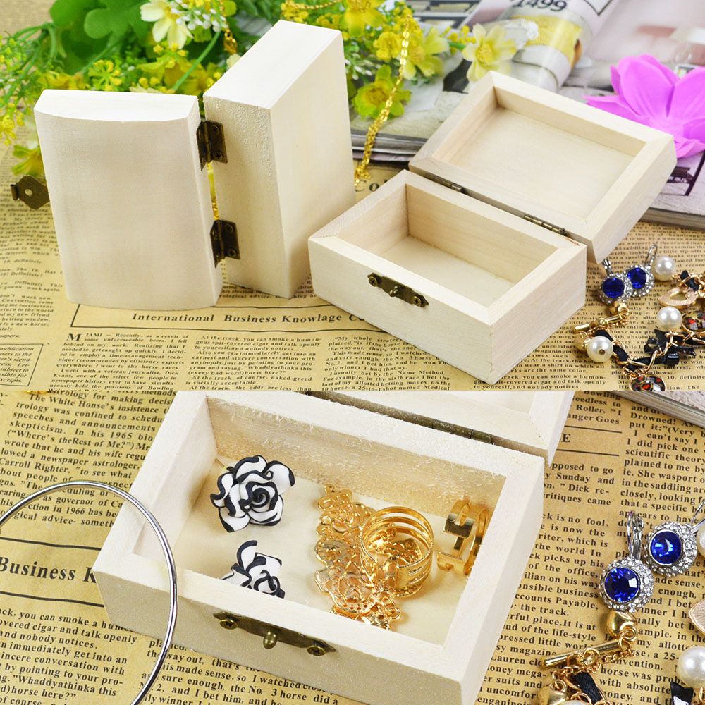 Wood jewelry box rectangle shape mud base art decor for Craft box for toddlers