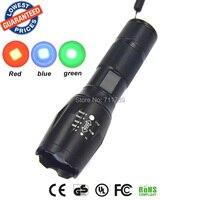 E17/A100 טקטי אקדח פנס אור CREE LED אדום/ירוק/כחול אור 18650 פנס לפיד מנורת LED ציד פנס לפיד