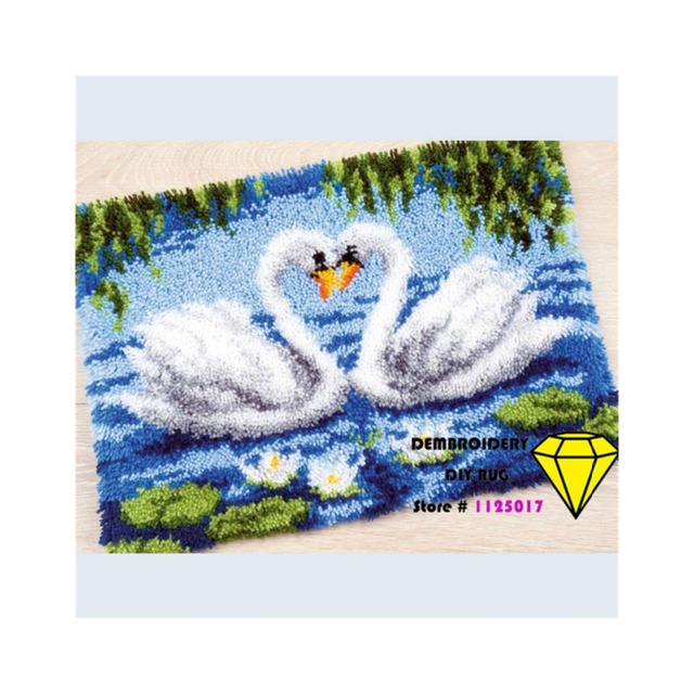 Embroidery Diy Carpet Picture Swan Carpet Yarn Embroidery Hook