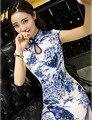 Elegante Mujeres Vestidos Largo Cheongsam Largo Qipao Tradicional Chino de La Vendimia Azul y Blanco Porcelana Vestido de Tamaño: S M L XL XXL