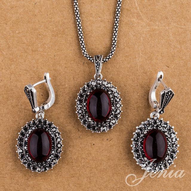 Jenia banhado conjuntos de jóias de prata do Vintage Marcasite Red Garnet gota brincos e pingente colar jogo XS150