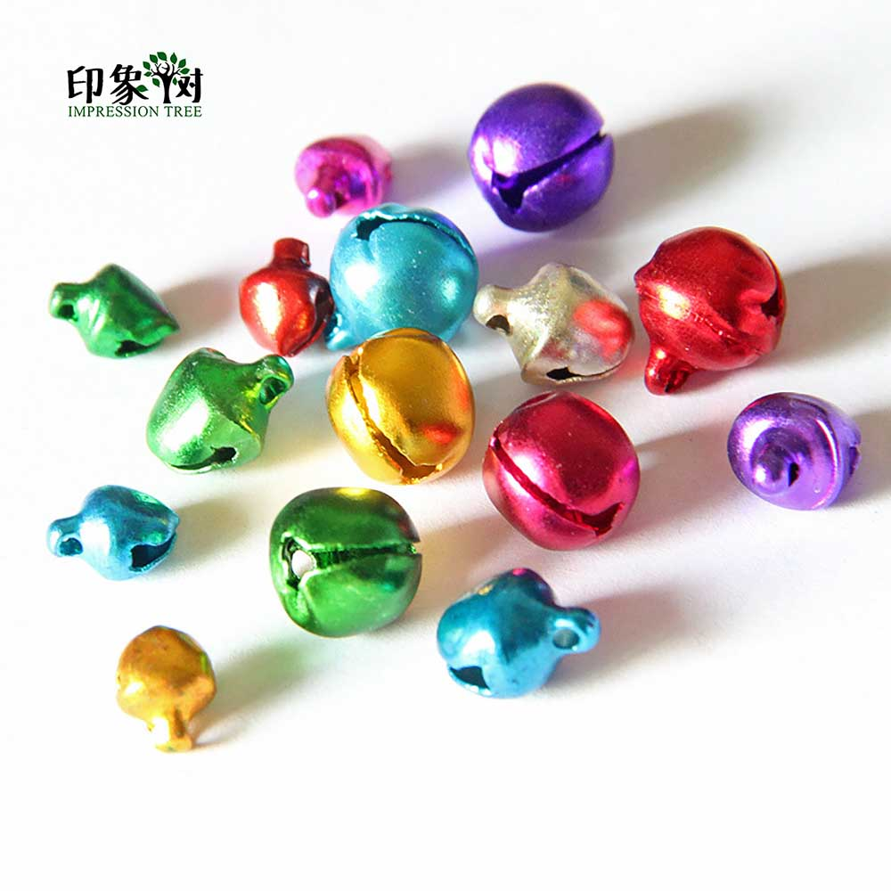 6/8/10mm Random Color Mixed Aluminium Bell Christmas Collar Bell Charm Pendants DIY Crafts Handmade Accessories 511