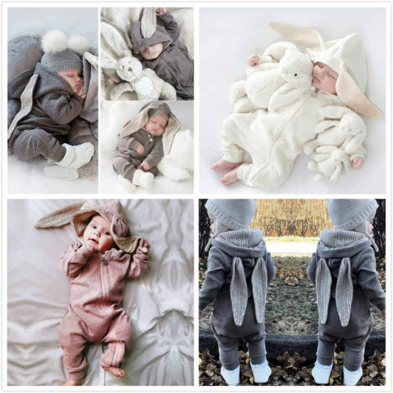 9836c9f4ffd Baby Clothing Rompers Babies Big Bunny Hooded Zip baby girl romper Boy Four  Seasons Wear Grey