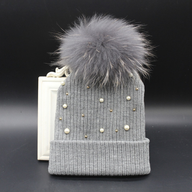 2015 New Autumn Winter Knitting Hat Raccoon hair bulb Pom Pom Acrylic Women Girl Warmer Peals Beanie Hat with Peals and balls