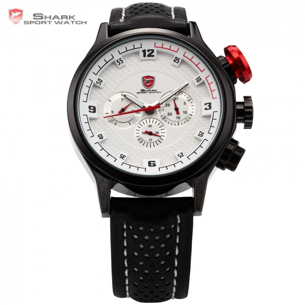ФОТО SHARK Sport Watch 6 Hands Date Day Stainless Steel Case Leather Strap White Clock Men Relogio Quartz Male Military Hours / SH085