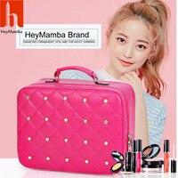 HeyMamba Luxury Women Bling Cosmetic Case Rivet Rhinestone Makeup Box PU Leather Tote Cosmetic Bag Beauty
