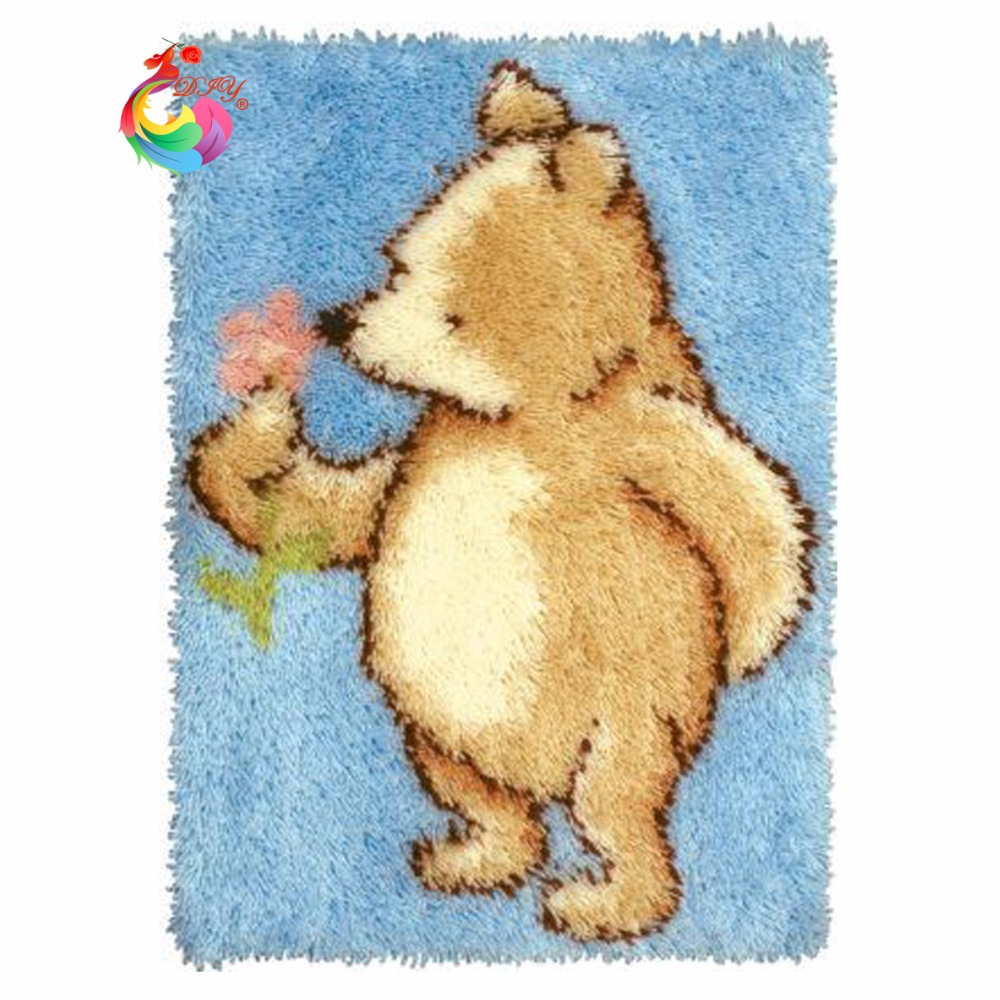 home decor crochet hooks sets for embroidery stitch thread Carpet embroidery stair carpet mats cross-stitch needlework Bear