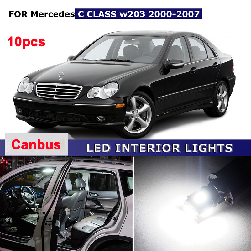 10X White Canbus Error Free Car Map Dome Glove Trunk Licence Plate Lights Package Kit For Mercedes W203 C Class AMG 2000-2007 цена