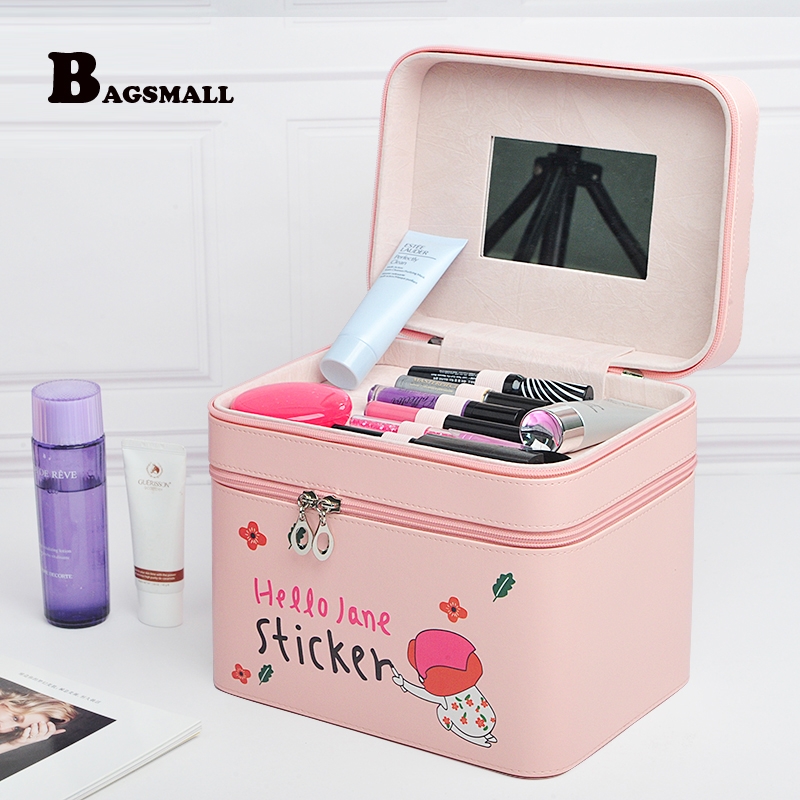 BAGSMALL Women Cosmetic Bag with 2 Mirrors Makeup Bag Case 2 Layer Make Up Organizer Box Toiletry Bag Beauticia Storage  Pouch стоимость