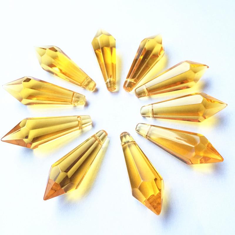 K9 Хрустальная люстра подвески призмы(бесплатное кольцо) многоцветная огранка и граненое стекло 36 мм u-сосулька капли для украшения торта - Цвет: Gold