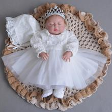 0cef11e39f9 3PCs per Set Baby Girl Baptism Dress Off White Infant Girl Christening Gown  Lace Silver Crown