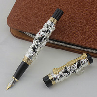 JinHao Dragon Phoenix Jewelry Luxury Fountain Pen 18KGP 0.5MM Nib Gift Ink Pens Writing Stationery Office Supplies