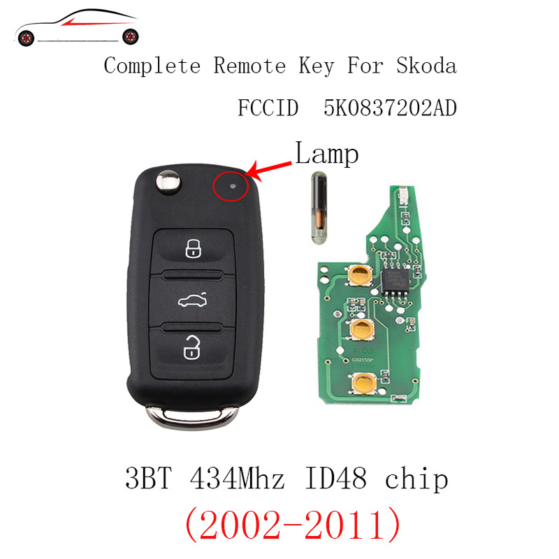 GORBIN 3Buttons ID48 Chip Remote key For Skoda Fabia Superb Roomster 2002-2011 5K0 837 202 AD For Skoda 202AD 434Mhz Car key