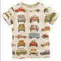 2016 Verão Novo Estilo Europeu O Pescoço T-shirt de Algodão Crianças Personagem de Manga Curta de Algodão Camisa de T Para Meninos Meninas Padrão Carro