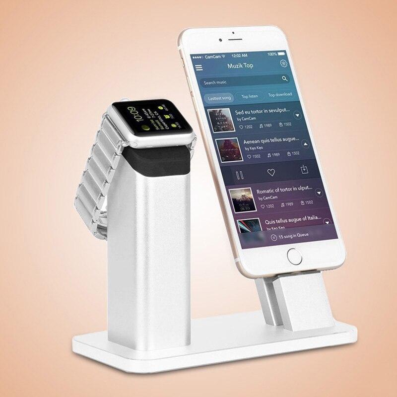 imágenes para De aluminio de lujo base estación de carga del muelle del cargador del sostenedor del soporte para iphone 5 5S se 6/6 s/6 plus cuna 7 7 plus para apple watch
