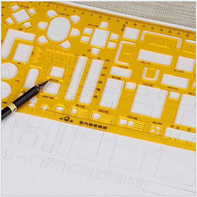 Drawing Template Ruler Geometry Shape Plastic Stencil Drafting Tools Multifunction Interior Design