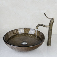 2014 Good Hand Painted Waterfall Brand Washbasin Lavatory Tempered Glass Sink Bath 425396006 Combine Brass Faucets