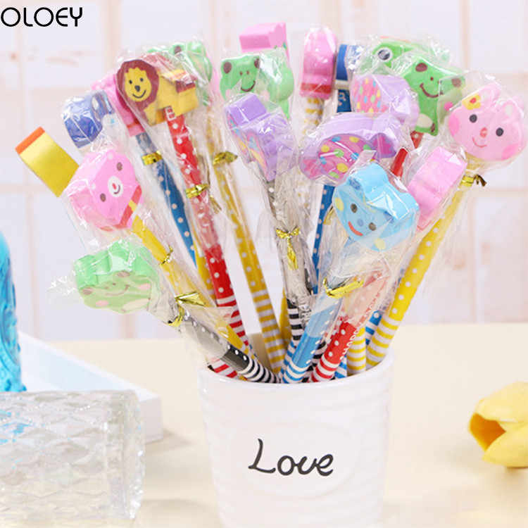 OLOEY 12PCS  Pencils with Cartoon Animal Erasers Party Favors Gifts for Kids Goodie Bags Fillers Birthday Carnival Prizes Bag
