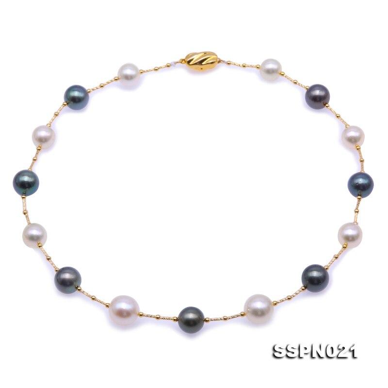 Unique Perles bijoux Magasin Parfait Top Qualité AAA 9-13mm Blanc Noir Perles des Mers Du Sud Avec Or Tube collier