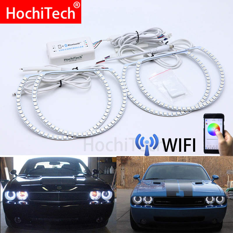 Wifi Wireless RGB Multi Color LED Angel Eye Halo Rings Day Light DRL for Dodge challenger