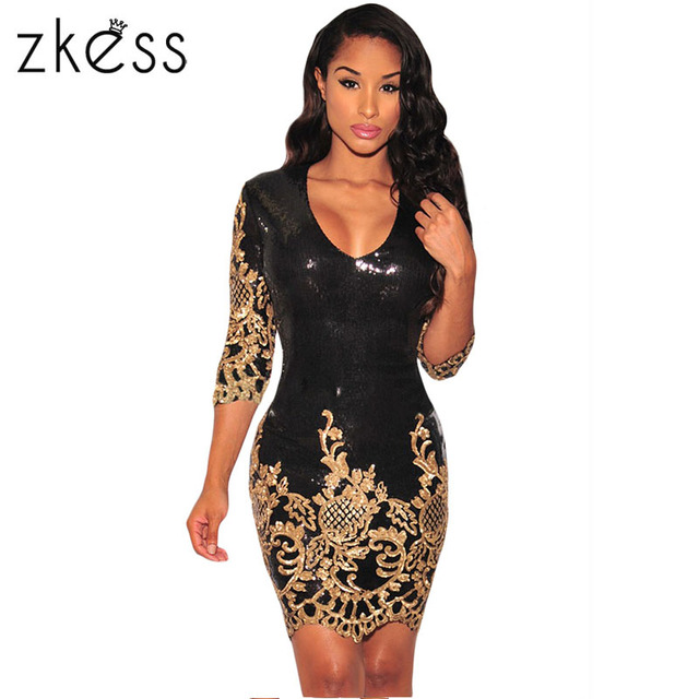 0d82d08e69ae Zkess 2019 women dress gold sequins o-neck bodycon dress celebrity sexy  party dress wholesale