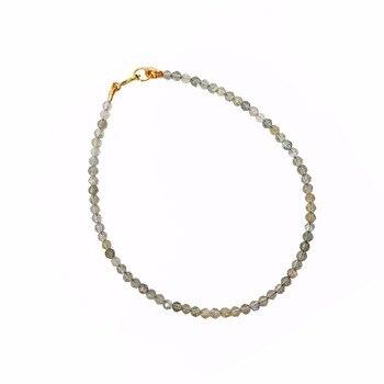 Natrual Shining Labradorite 2-3mm Faceted Beads 925 sterling silver Fashion Bracelet 7''-8'' 1