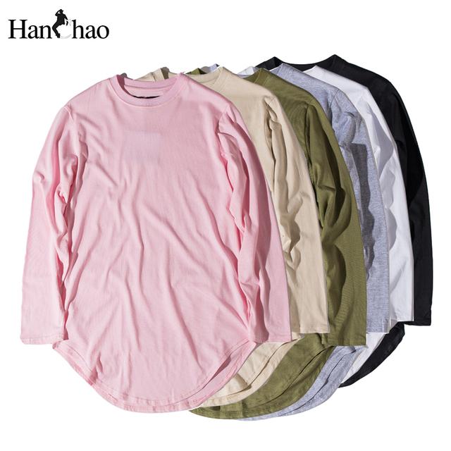 Mens em branco T-shirt 2017 Outono Hem Curvo Espinhel Básico Hip Hop Homens camiseta Manga Longa Homens Tee Estendida Rosa Cáqui Preto Branco
