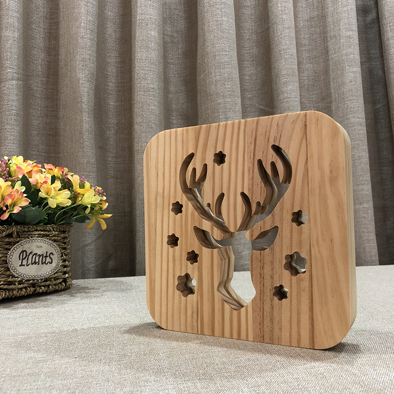 Creative Elk 3D Wooden Lamp Warm White LED USB Night Light Home Decoration Children Birthday Holiday Christmas Gift W3D-14 icoco usb rechargeable led magnetic foldable wooden book lamp night light desk lamp for christmas gift home decor s m l size