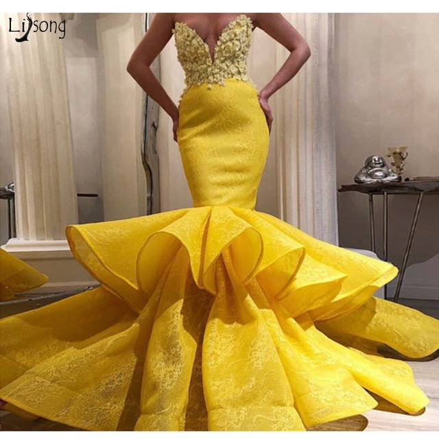 beb7845bbf92 2019 Lemon Yellow Lace Mermaid Prom Dresses 3D Flower Sexy Long Prom Gowns  Sweetheart Off Shoulder Gowns Size Robe De Soiree