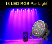 Remote Control 18W 18 LED Stage Light High Power RGB Par Light DMX512 Master Slave LED Flat DJ Equipment Controller Discos KTV