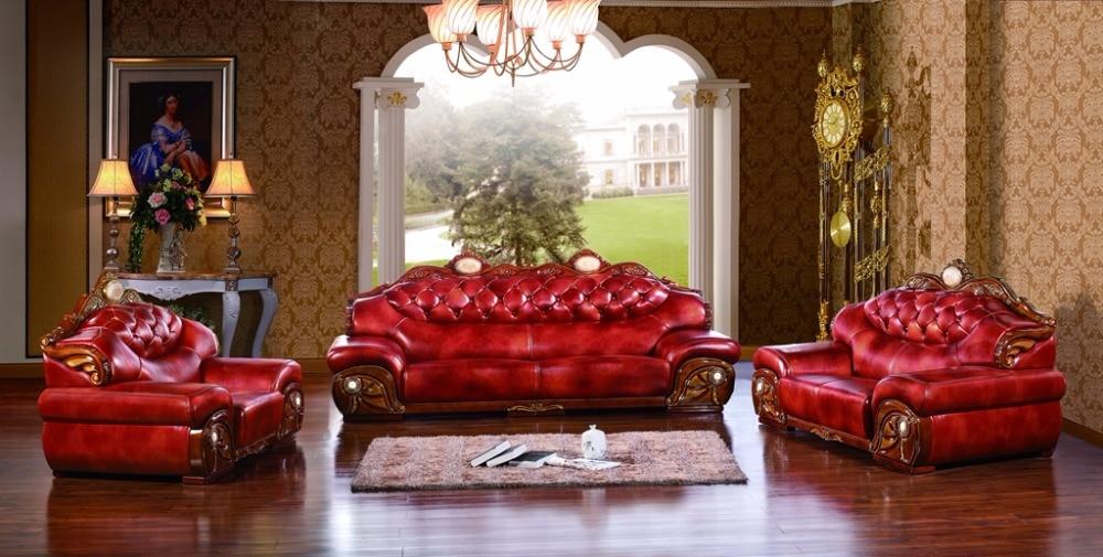 luxury big European leather sofa set living room sofa made