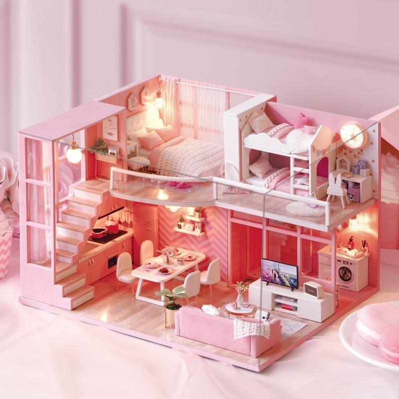 DIY Doll House Furniture Dream Angel Miniature Dollhouse Toys for Children Cute Families House Casinha De Boneca Lol House