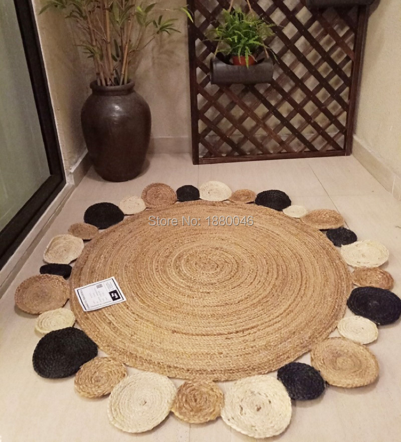Tapis de jute naturel de Style rond créatif américain tapis et tapis d'herbe de rotin faits à la main pour le salon à la maison