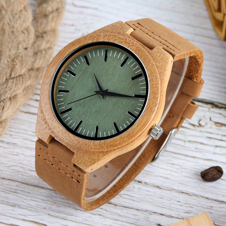 Men Wooden Watches Retro Ebony Wood Case Green Dial Handmade Engraved Scale Casual Military Sports Clock Man Quartz Wrist Watch 2020 2019 2018 (6)