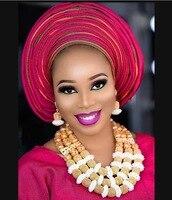 Fantastic Gold Bridal Beads African Jewelry Set Nigerian Women Costume Wedding Statement Necklace Set QW1226