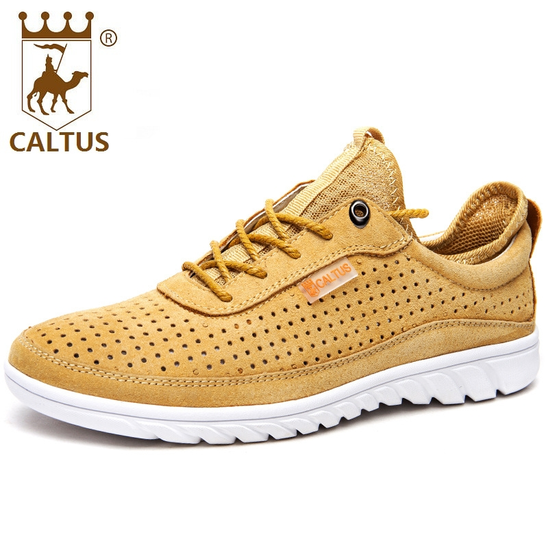 CALTUS Male Casual Shoes Soft Footwear Classic Men Oxfords Genuine Leather Flats Brand Soft Male Shoes AA20549 male casual shoes soft footwear classic men working shoes flats good quality outdoor walking shoes aa20135