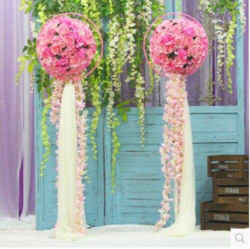 wedding stage decorations table flower and flower ball wedding Road ...