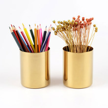 Nordic Style Stainless steel Cylindrical Pen Container For Vase Home Office Storage Box House Desk flower Decoration Tool(China)