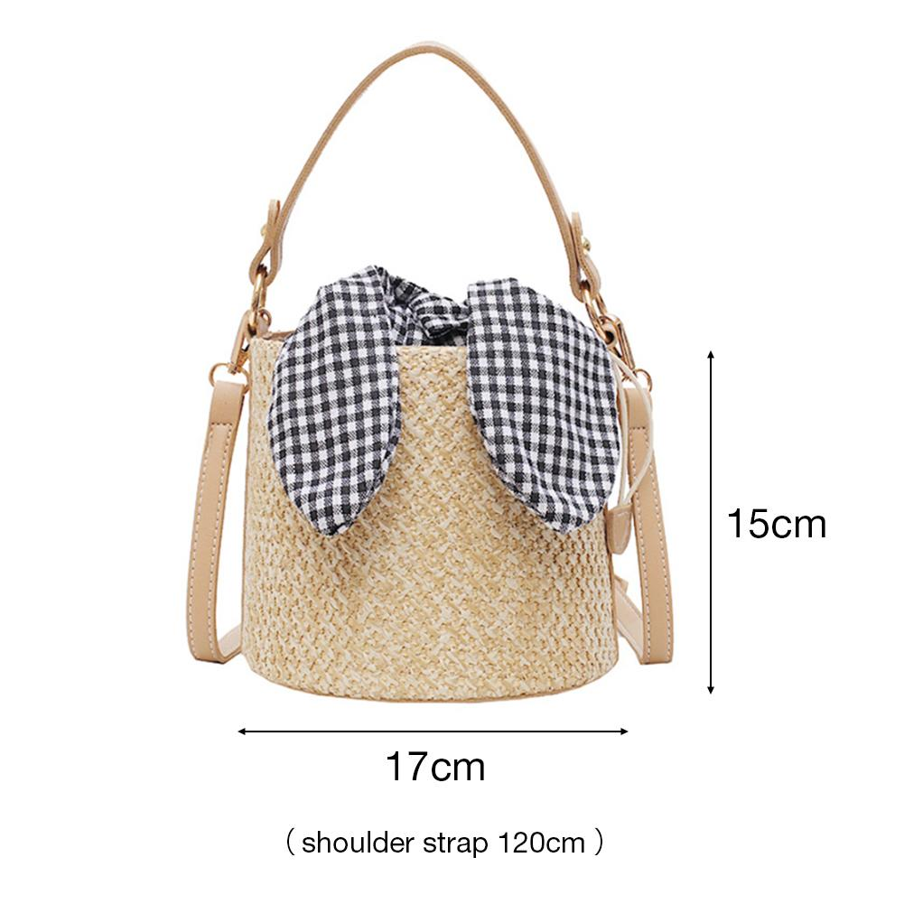 Women Straw Hand Woven Shoulder Bag Korean Style Casual Fashion Braided Handbag Bucket Messenger Crossbody Bag Beach Summer Bags in Top Handle Bags from Luggage Bags