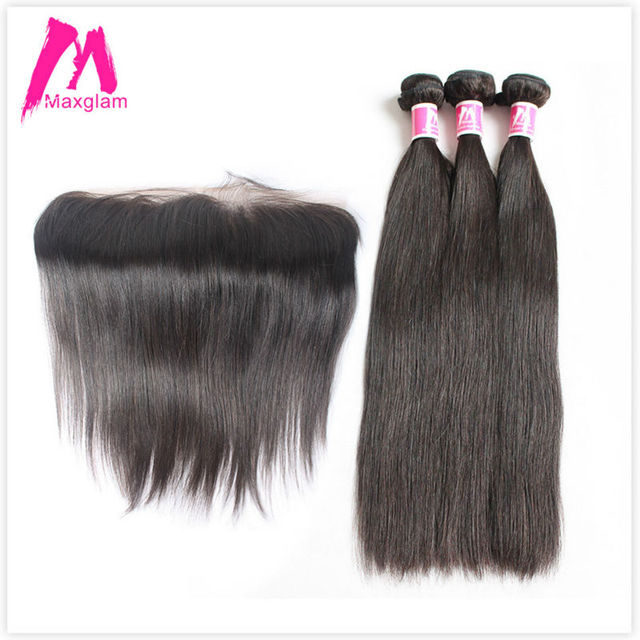 Maxglam Straight Brazilian Virgin Hair With Closure 3 Human Bundles 1 Lace Frontal
