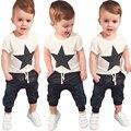 2017 Estilo Verão Roupas Infantis Conjuntos de Roupas de Bebê Meninos Estrela impressão de Manga Curta t-shirt + calças de Algodão 2 pcs Bebê Menino Roupas