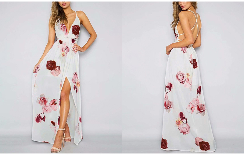 Boho floral print long dress 2018 Summer backless beach maxi dress female High waist split deep v sexy dress vestidos
