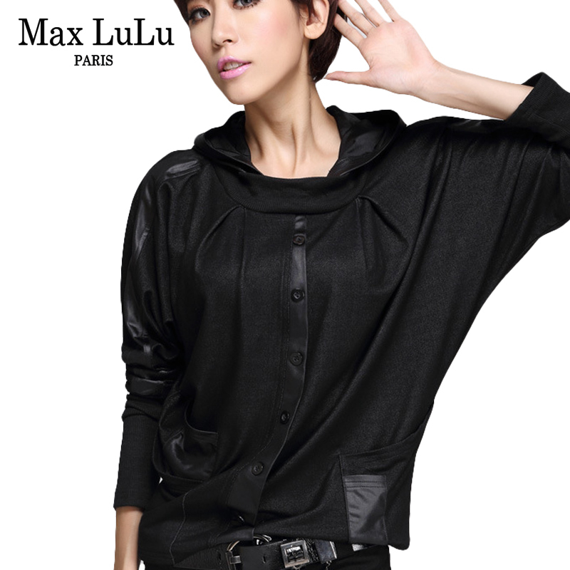 Max LuLu Luxury European Fashion Girls Casual Cropped Tops Tee Shirts Womens Hooded T shirt Camisetas Mujer Woman Loose Tshirt