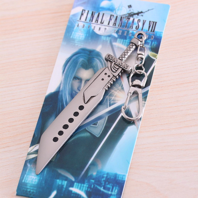 1Final Fantasy VII 7 FF7 Cloud Sword Claude broadsword Keychain Buster Metal weapons Collection Model toys Xmas gift - Cartoon Queen store