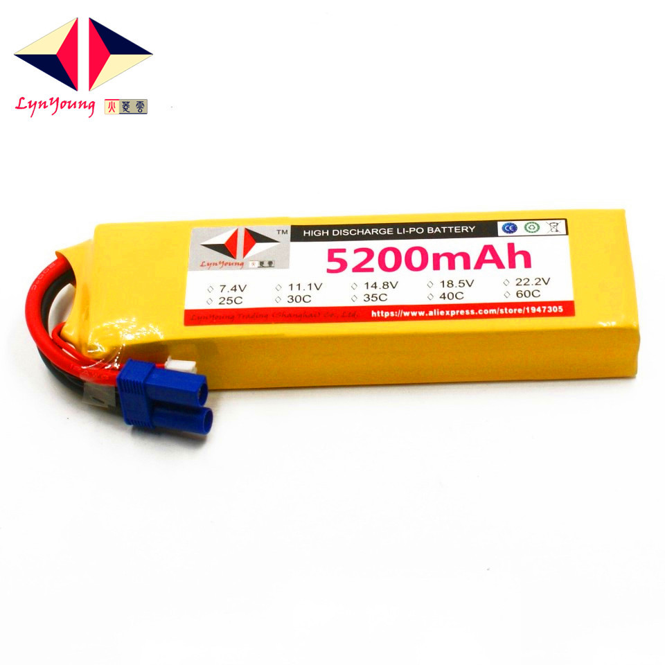 LYNYOUNG lipo 3s battery 11.1V 5200mAh 25C for RC Drones airplane truck Car Helicopter 1s 2s 3s 4s 5s 6s 7s 8s lipo battery balance connector for rc model battery esc