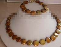 Free shipping charm Jew.657 25 Genuine Natural 15mm coffee Coin Pearl Necklace Bracelet set