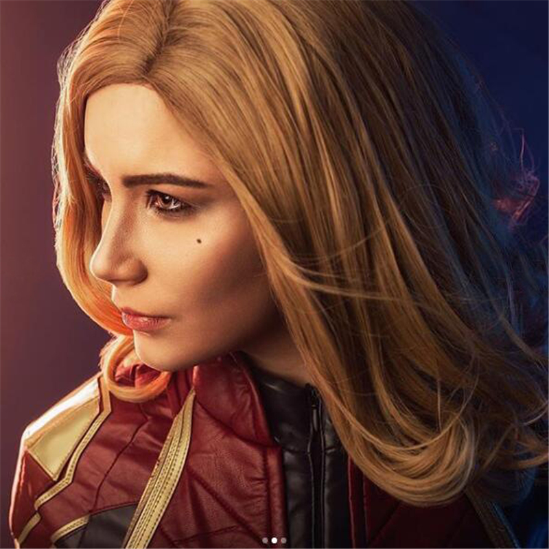 Movie Captain Marvel Carol Danvers Cosplay Wig Women Girls Solid Brown Wave Long Hair Wig Halloween Party Accessories Hair New
