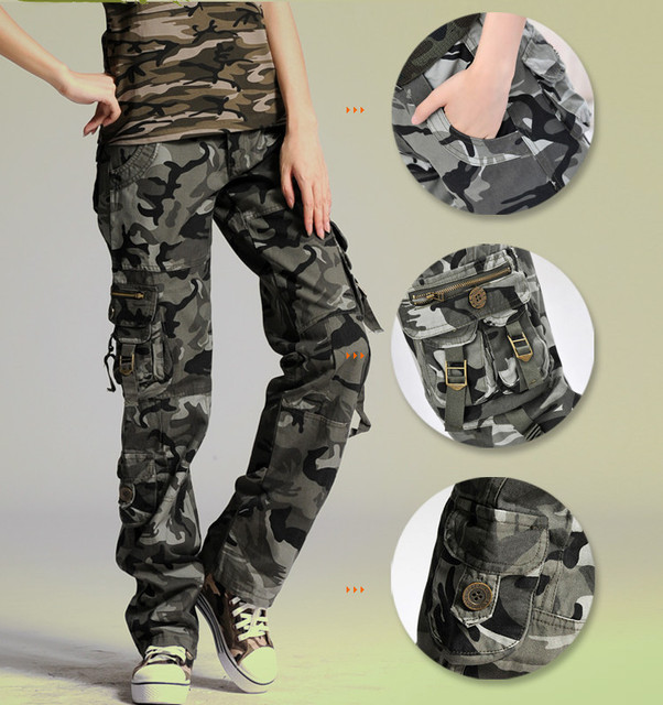 70549c6562183 Women's camouflage pants woman cotton Multi-Pocket Casual loose female baggy  Cargo Pants Military Plus