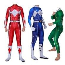 Карнавальный костюм с 3D принтом Kyoryu Sentai Zyuranger Ranger, красный/синий/зеленый костюм рейнджеров, недорогой костюм зентай